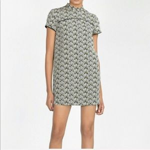 Zara • Mock Neck Jacquard Print Mini Shift Dress